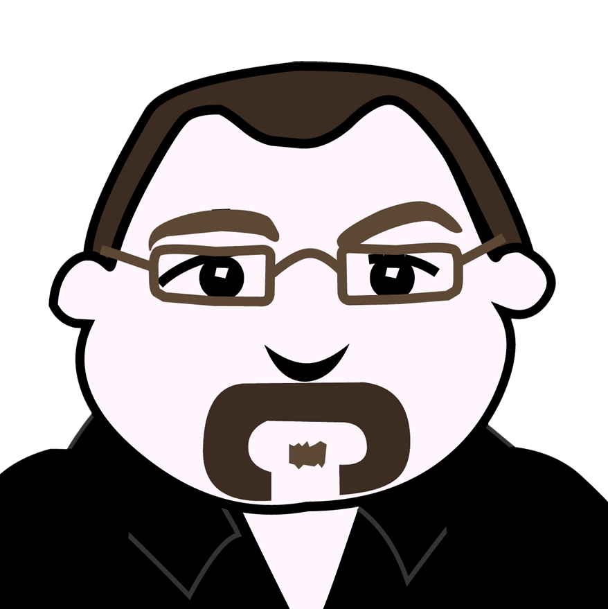 Cartoon portrait of a man with short brown hair, rectangular glasses, and a daft moustache.